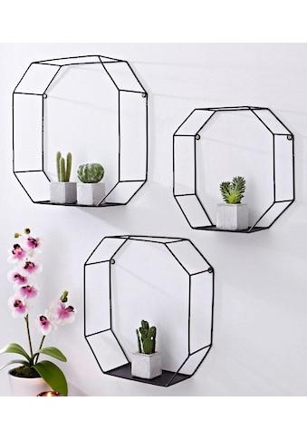 Creativ home Wandregal, (Set, 3 St.), Dekoregal, Wanddeko, bestehend aus achteckigen Elementen kaufen