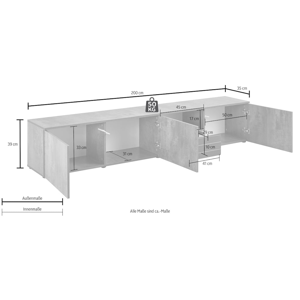 borchardt Möbel Lowboard »Savannah«, Breite 200 cm