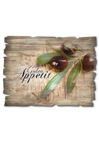 Artland Holzbild »Oliven Guten Appetit«, Speisen, (1 St.) kaufen
