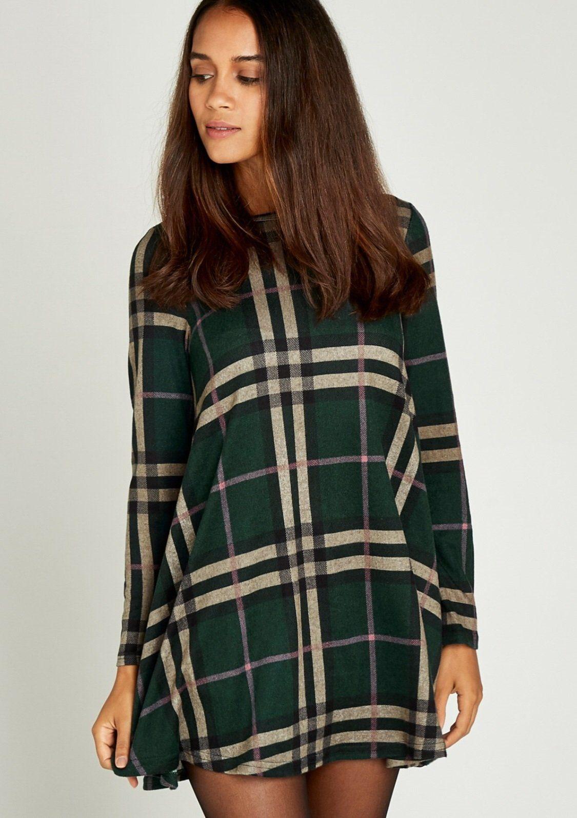 Image of Apricot Strickkleid »Blanket Check Swing Dress«