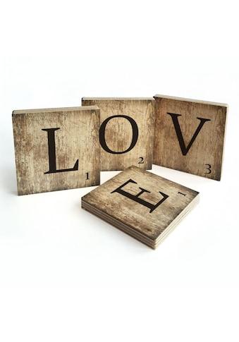 Wall - Art Mehrteilige Bilder »Scrabble Deko Buchstaben Love« (Set) kaufen