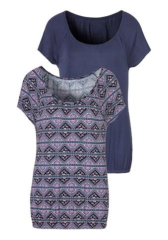 LASCANA T-Shirt, mit leicht gerafftem Rundhalsausschnitt kaufen