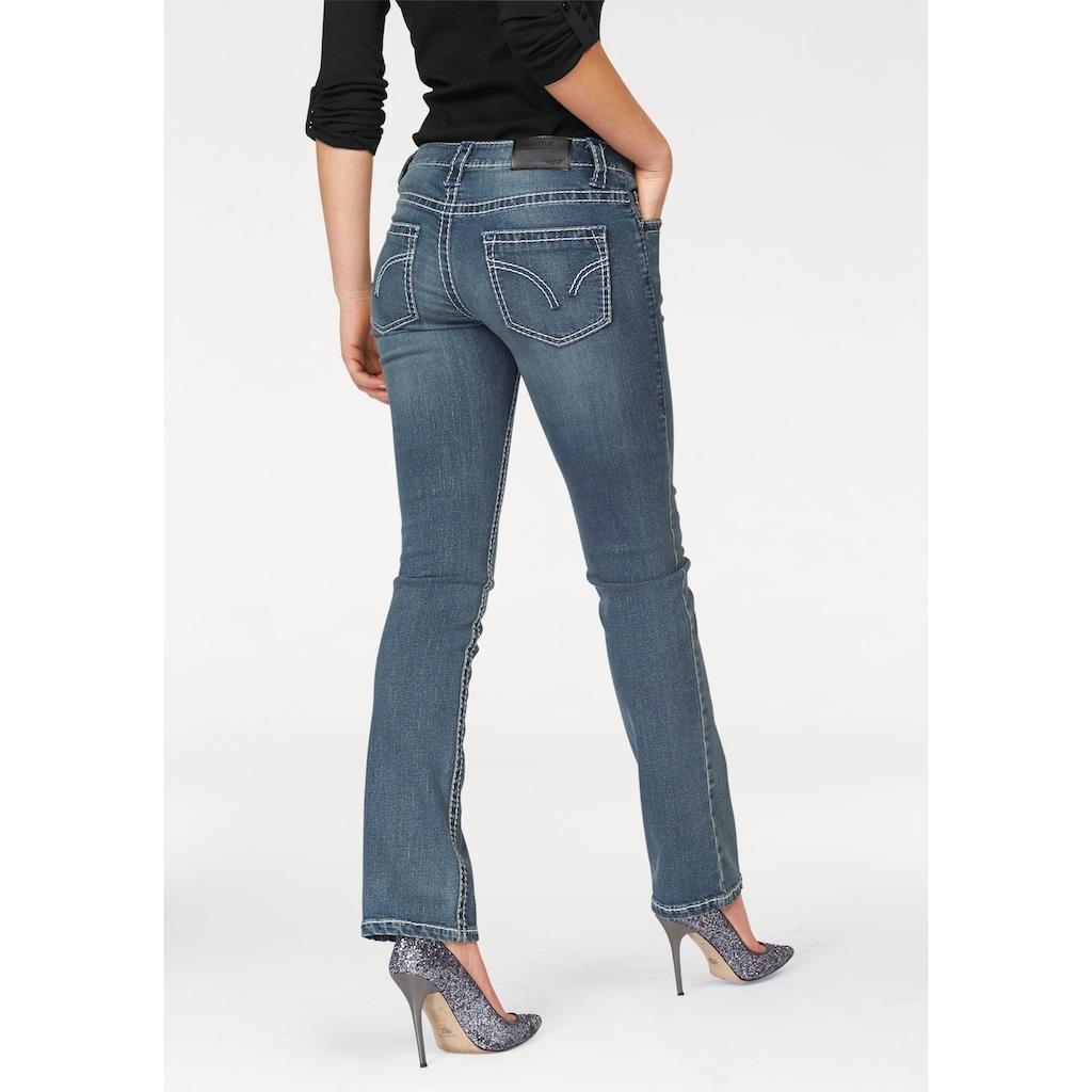 Arizona Gerade Jeans »Kontrastnähte«, Low Waist