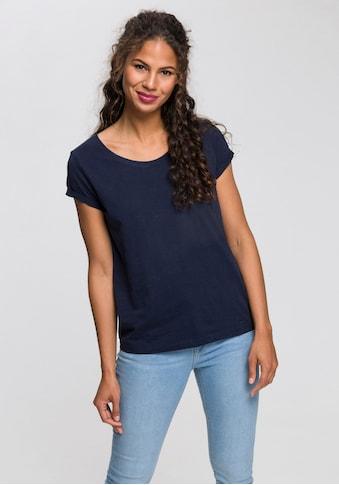 edc by Esprit Print-Shirt, mit kurzen Ärmeln mit Umschlagsaum kaufen