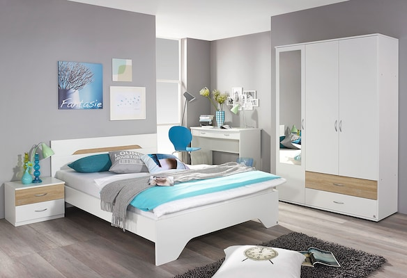 Komplett-Jugendzimmer in Weiß mit Holzelementen