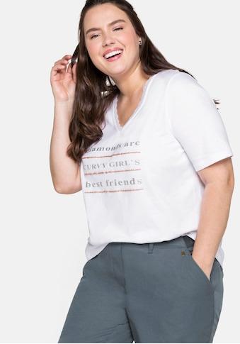 Sheego T-Shirt, mit Spitze am Ausschnitt und Glitzerdruck kaufen