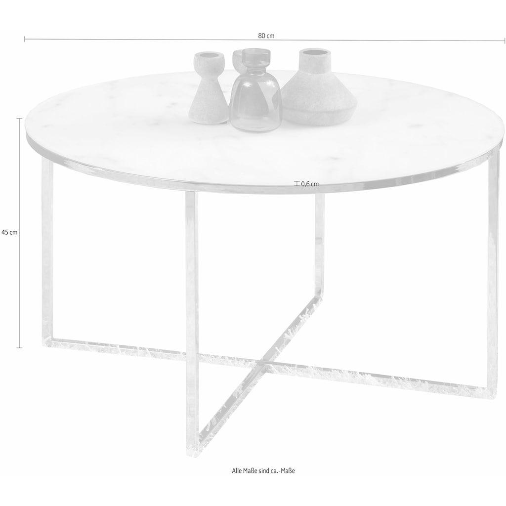 andas Couchtisch »Alina«, mit schönem Marmorprint auf der matten Glasplatte und einem Metallgestell