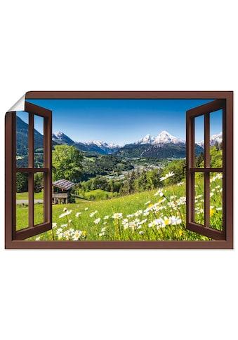 Artland Wandbild »Fensterblick Bayerischen Alpen«, Berge, (1 St.), in vielen Grössen &... kaufen