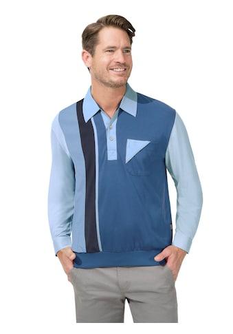 Langarm - Poloshirt mit attraktivem Blockstreifen - Muster kaufen