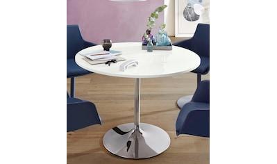 Esstisch »Trompet«, rund, Ø110 cm, Tischplatte weiss Hochglanz kaufen