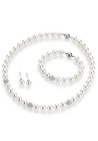 Firetti Schmuckset »Collier, Armband und Ohrhaken«, mit Muschelkernperlen und Kristallsteinen kaufen