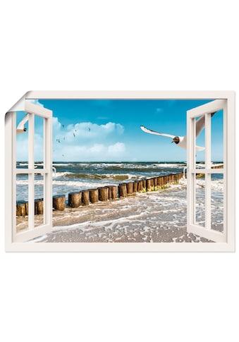 Artland Wandbild »Fensterblick - Ostsee«, Fensterblick, (1 St.), in vielen Grössen &... kaufen