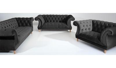 Max Winzer® Sitzgruppe »Isabelle«, (3 tlg.), mit edler Knopfheftung & gedrechselten... kaufen