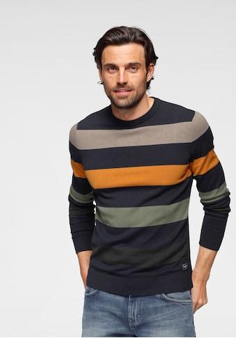 TOM TAILOR Rundhalspullover, farbig gestreift kaufen