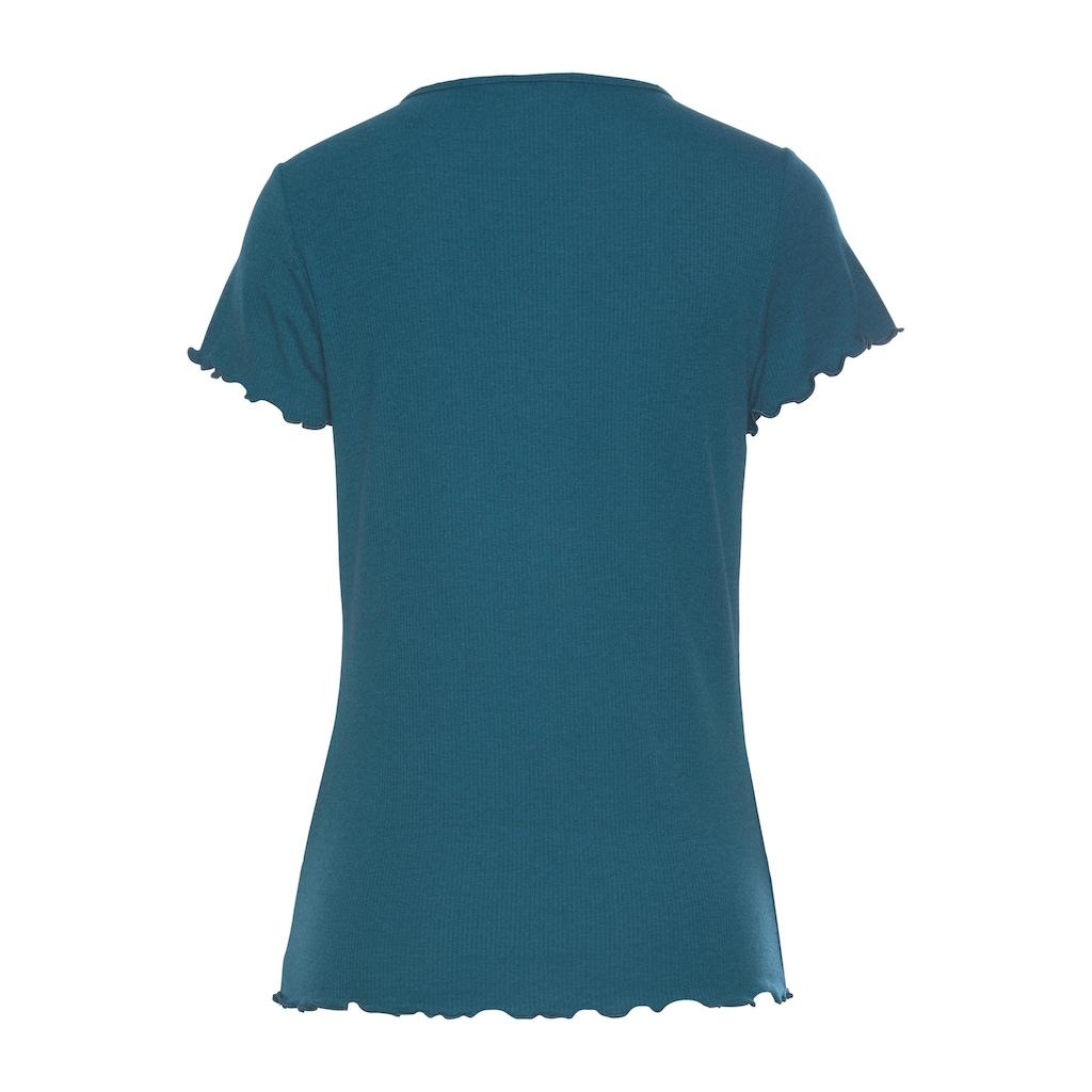 s.Oliver Bodywear T-Shirt, aus geripptem Stoff mit Kräuselsäumen