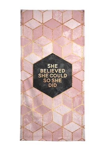 Juniqe Strandtuch »She Believed She Could«, (1 St.), Weiche Frottee-Veloursqualität kaufen