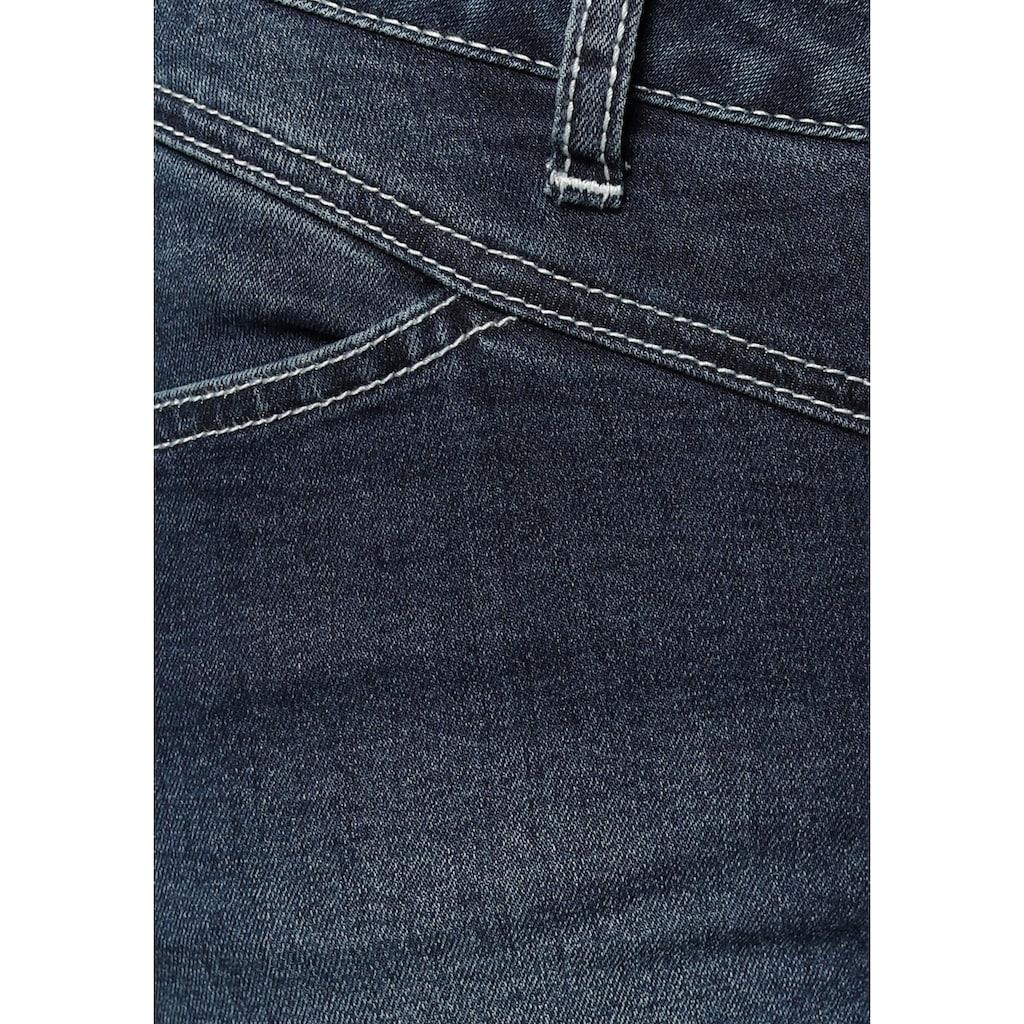 Arizona Slim-fit-Jeans »Shaping mit Kontrastnähten«, Mid Waist