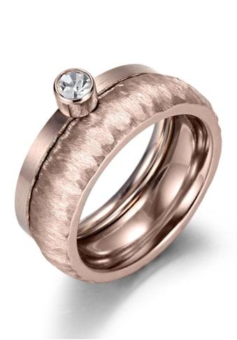 Firetti Ring - Set »2,0 mm, 4,0 mm, glänzend, matt, gekratzt, strukturiert, roségoldfarben IP - beschichtet« (Set, 2 tlg.) kaufen