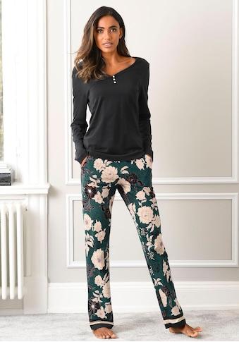 s.Oliver Bodywear Pyjama, mit geblümter Schlafhose kaufen