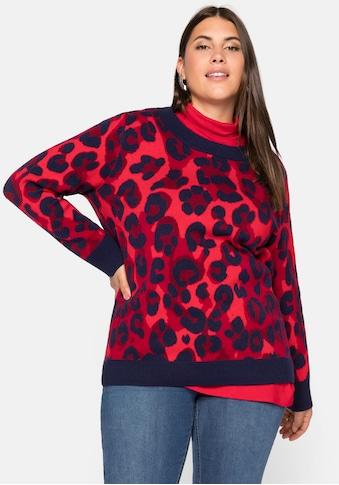 Sheego Rundhalspullover, mit Animal Look (Jacquard Muster) kaufen