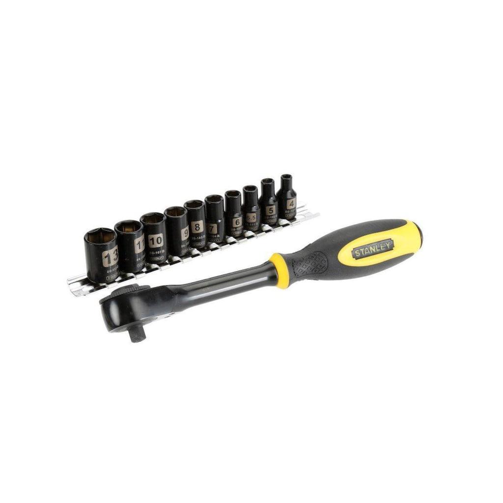 STANLEY Werkzeugset »Ratsche Rotator mit Steckschlüsseln 1/4'', 11-teilig«