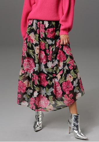 Aniston CASUAL Maxirock, mit Volant und grossflächigem Blumendruck - NEUE KOLLEKTION kaufen