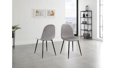 Leonique Esszimmerstuhl »Eadwine«, Polsterstuhl mit Metallgestell, im 2er und 4er Set erhältlich, Beine in schwarz oder eichefarben kaufen