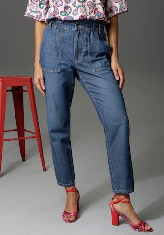 Aniston CASUAL Loose-fit-Jeans, high waist mit bequemen Gummizugbund, Paperbag-Jeans - NEUE KOLLEKTION kaufen