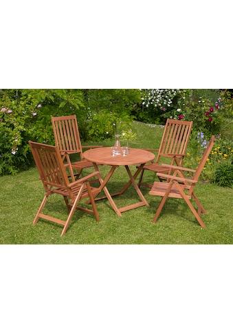 MERXX Gartenmöbelset »Vitoria«, 5tlg., 4 Sessel, Tisch, klappbar, Eukalyptusholz kaufen