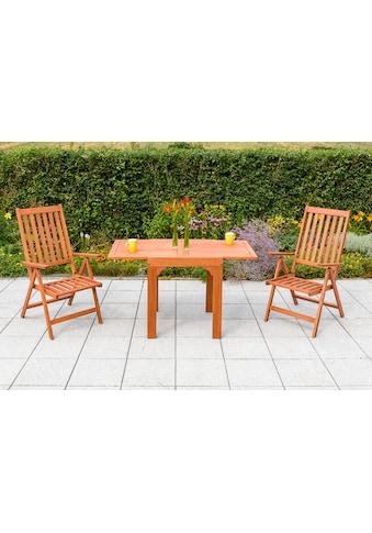 MERXX Gartenmöbelset »Vitoria«, 3tlg., 2 Sessel, Tisch, klappbar, ausziehbar, Eukalyptus kaufen