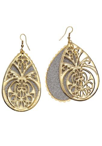 J.Jayz Paar Ohrhaken »Tropfen mit Ornamente in Bicolor - Optik« kaufen