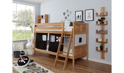Ticaa Etagenbett »Erni«, mit Rollrost und Textil-Set wahlweise mit Matratze, Buche kaufen