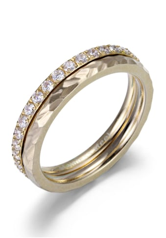Firetti Ring - Set »4,0 mm, glänzend, matt, IP - beschichtet gelbgoldfarben, schlicht und zeitlos« (Set, 2 tlg.) kaufen