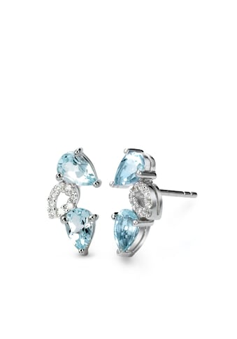 Ohrstecker Silberfarben blauer Topas Zirkonia 14 mm kaufen