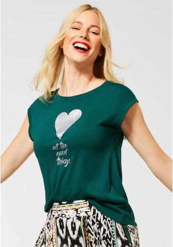 STREET ONE Print-Shirt, mit Glitzer-Wording-Print kaufen
