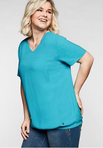 Sheego T-Shirt, im Materialmix, mit Gummizugsaum kaufen