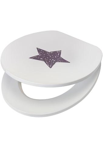 WC - Sitz »Star / Stern«, MDF Toilettensitz mit Absenkautomatik, grau weiss kaufen