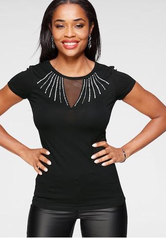 Melrose Rundhalsshirt, mit transparenten Glitzersteinen und Mesh kaufen