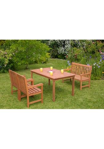 MERXX Gartenmöbelset »Santos«, 5 - tlg., 2 Sessel, 2er Bank, Tisch, Eukalyptus kaufen