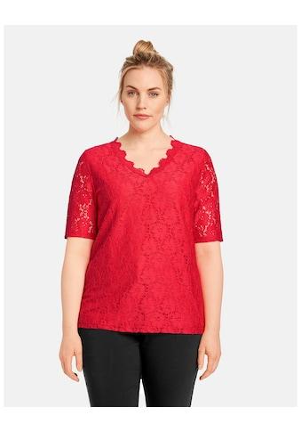 Samoon T - Shirt Kurzarm Rundhals »Elastisches Spitzenshirt« kaufen