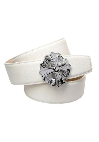 Anthoni Crown Ledergürtel, in weiss mit runder Schliesse als stilisiertes Kreuz kaufen