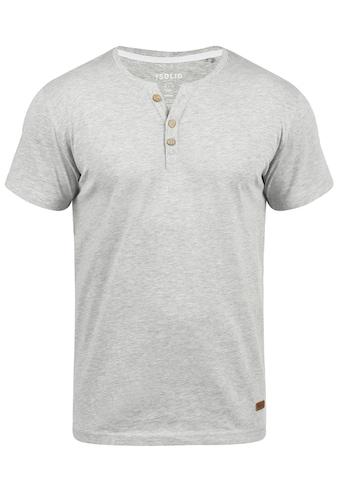 Solid Rundhalsshirt »Volker«, Kurzarmshirt mit Knopfleiste kaufen
