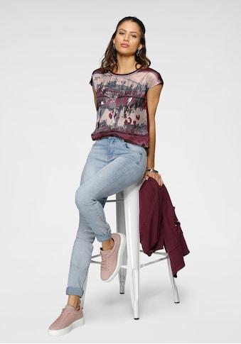 Laura Scott Shirtbluse, mit Folienprint und Kontrast-Bündchen - NEUE KOLLEKTION kaufen