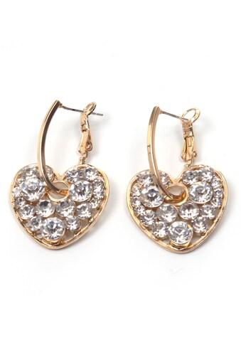 J.Jayz Paar Ohrhänger »Herzen, glamourös«, mit Glassteinen kaufen