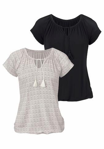 Vivance T-Shirt, mit leicht gerafftem Ausschnitt kaufen