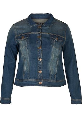 Zizzi Jeansjacke, Mit Kontrastfarbenen Nähten und Steppung kaufen