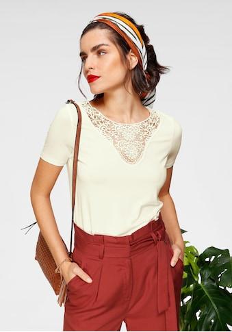 Tamaris Rundhalsshirt, mit Spitzenausschnitt - NEUE KOLLEKTION kaufen