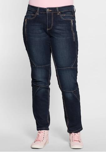 Sheego Stretch-Jeans, Im Biker Style kaufen