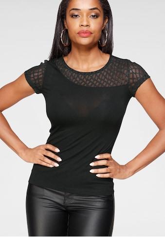 Melrose Rundhalsshirt, mit asymmetrischen Einsatz aus Spitze kaufen