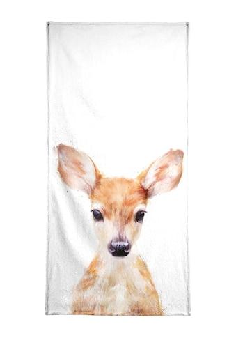 Juniqe Strandtuch »Little Deer«, (1 St.), Weiche Frottee-Veloursqualität kaufen
